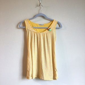 Yellow and white striped tank with cute detailing